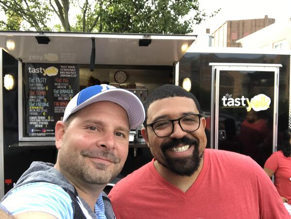 Aventri's Global Headquater's office in SONO kicked off the day by having the Tasty Yolk Breakfast Truck cook up breakfast sandwiches for employees.