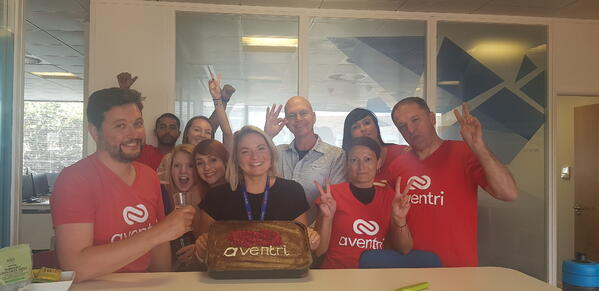 Aventri's UK  office in Reading celebrated Aventri's birthday with a homemade cake.