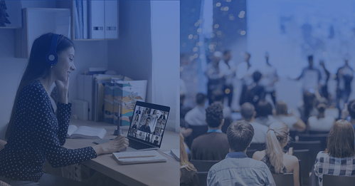 Image of attendee sitting at home office attending an event next to an image of a group attendees attending an event in-person representing a hybrid event
