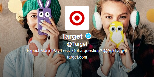 Screenshot of Target's twitter handle for all customer service-related inquiries