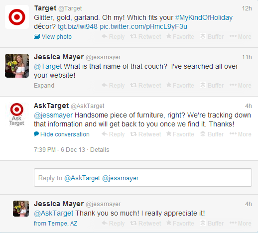 Screenshot of a Target holiday promotion image and a customer asking a questions using the @AskTarget