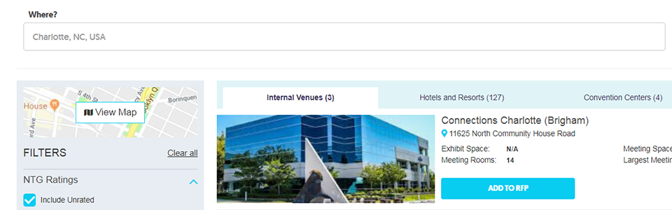Internal venue sourcing search results