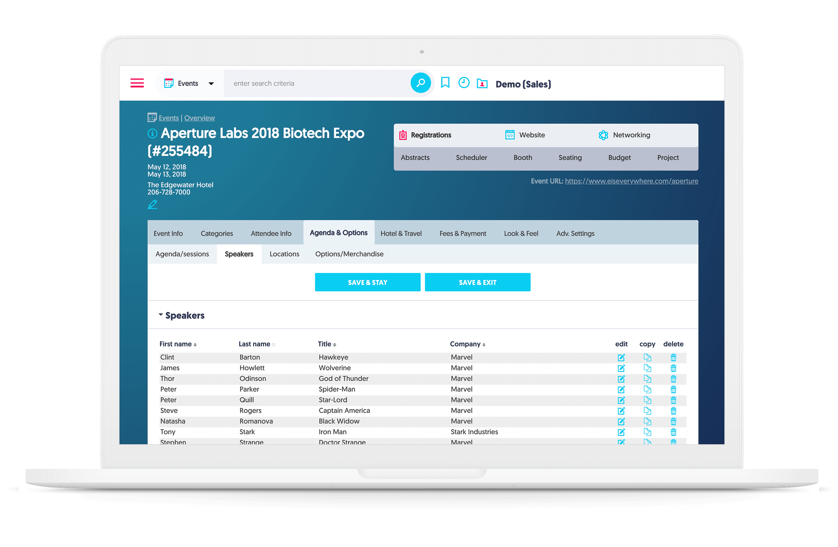 aventri's event registration software backend screenshot