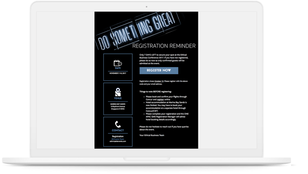 Branded event email marketing template