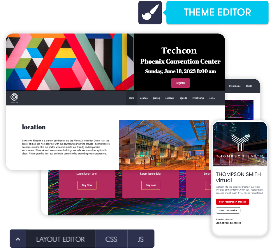 Mobile layout theme editor