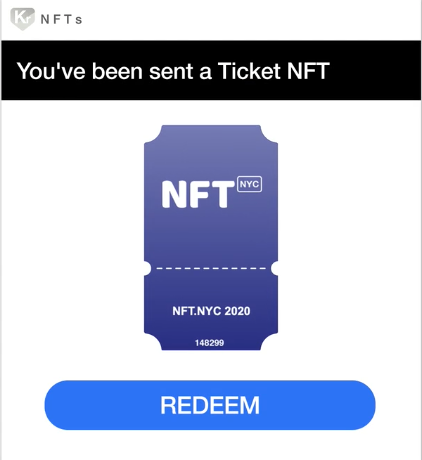 redeemable NFT ticket for an event in NYC