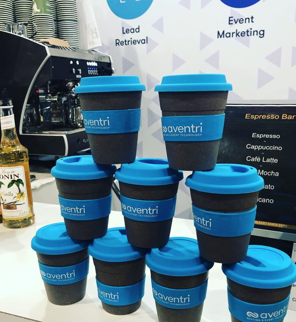 Aventri's branded, reusable coffee cups made of bamboo at IMEX America 2019