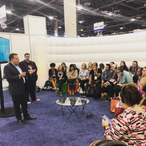 CRO Michael Burns and Alex Plaxen have a speaking session about how event planners are using social media at IMEX America 2019