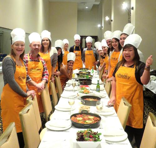 Aventri employees taking cooking classes together