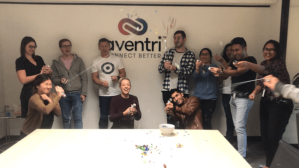 Aventri's Sydney office celebrated Aventri's birthday with confetti and silly string.