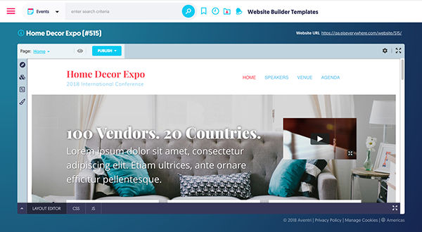 Aventri's unified website builder for better brand and attendee experience