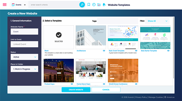 Aventri's customizable template website builder