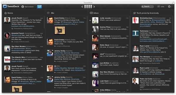 TweetDeck - Social media dashboard application used by planners to help promote events