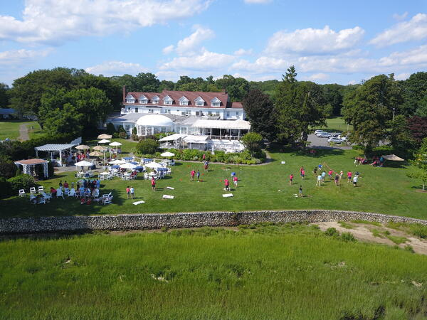 birds eye shot of the Inn at Long Shore