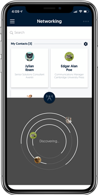 Aventri's networking feature on mobile app
