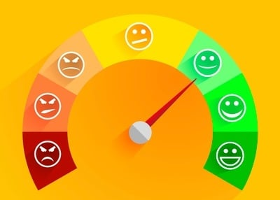 Arrow pointing at green smiley face on customer feedback scale