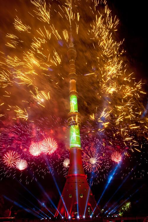 Video mapping being used to present fireworks