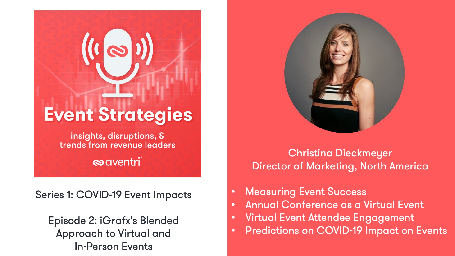 Aventri Event Strategies Podcast Series ep. 2 with Christina Dieckmeyer, the Director of Marketing for North America at iGrafx.