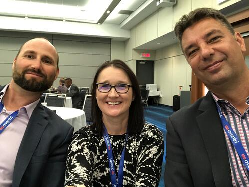 3 Aventri employees taking a selfie at WEC conference by MPI in Toronto, Canada