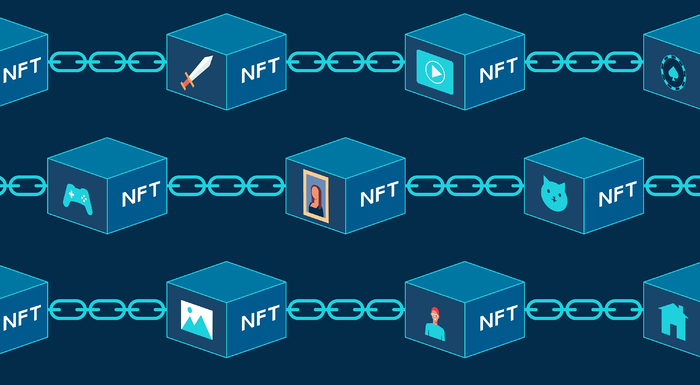 Concept of NFT, non-fungible tokens, Digital items for crypto art, game, video, collectible sale on internet online marketplace with virtual blocks on blockchain technology