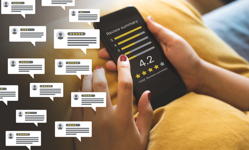 Online venue reviews concepts with bubble people review comments and smartphone
