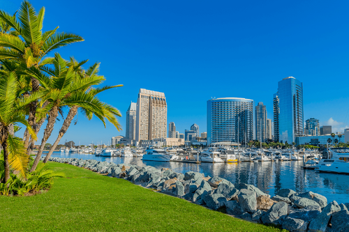 Waterfront view of San Diego Bay in San Diego, California
