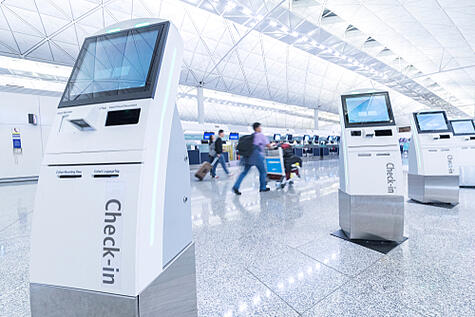 self-service check-in area at airport