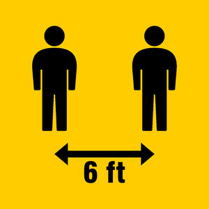 Diagram informing people to practice social distancing and stay 6 feet apart