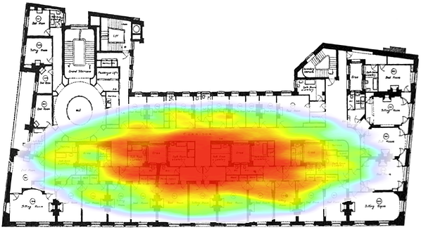 Live heat map showing the number of people on the Ritz London event floor and where they are congregating.
