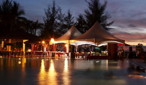 Outside event venue at night