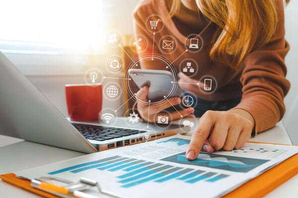 virtual event planner reviewing virtual event data