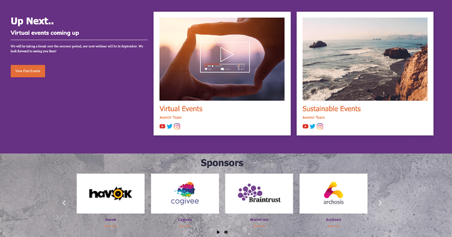 virtual event sponsors logos shown on virtual event website